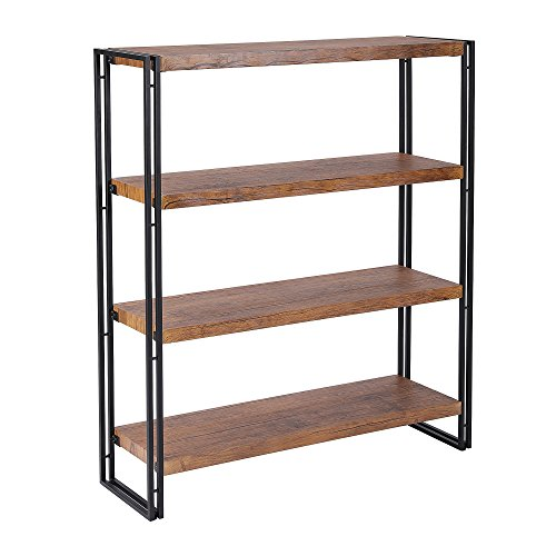 FIVEGIVEN 4 Tier Bookshelf Rustic Industrial Bookcase Modern Open Wood Shelves, Brown For Sale
