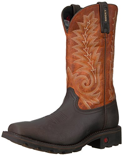 - Rocky Men's RKW0215 Western Boot, Dark Brown and Orange, 11 W US
