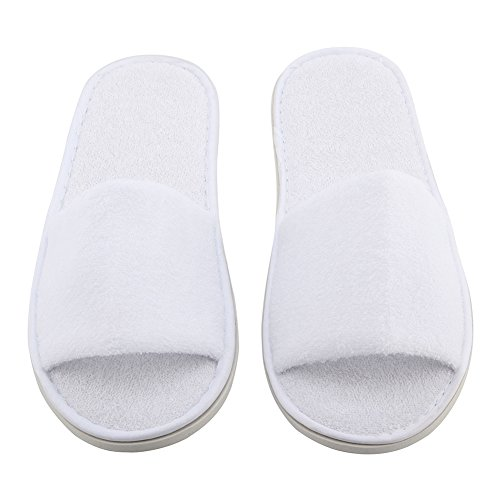 Disposable Slippers - SODIAL(R) 5 pair White Towelling Hotel Disposable Toe Slippers Terry SPA Guest Party Shoes 093ccHDY