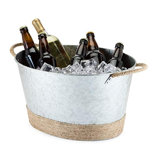 Twine Seaside Jute Rope Wrapped Farmhouse Galvanized Ice Bucket and Metal Tub, Wine Bottle, Beer Can, Alcohol Ice Buckets, Multicolor, One Size