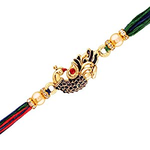 I Jewels Gold Plated Designer CZ Pearl Multi-Colour Peacock Rakhi Combo For Men/Boys (R702-2) (Pack Of 2)