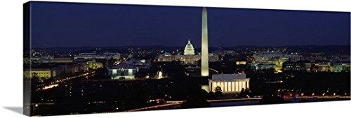 Canvas On Demand Premium Thick-Wrap Canvas Wall Art Print entitled Buildings Lit Up At Night, Washington Monument, Washington DC, District Of Columbia (Architect Of The Capitol Washington Dc)