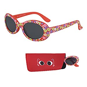 Sunglasses for Babies – Smoked Lenses - Reduces Glare, 100% UV Protection for Infants and Toddlers Ages 1 Month to 3 Years - Red Rubber Injected Frame - Matching Pouch - By Optix 55