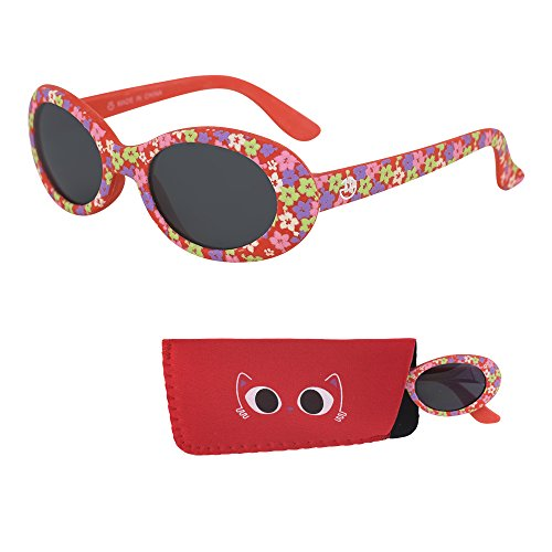 (Sunglasses for Babies – Smoked Lenses - Reduces Glare, 100% UV Protection for Infants and Toddlers Ages 1 Month to 3 Years - Red Rubber Injected Frame - Matching Pouch - By Optix 55)