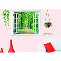 False Window Scenery 3d Wall Sticker Home Decor Green Forest Wall Decal For Living Room Wallpaper