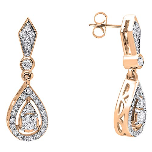 Dazzlingrock Collection 0.35 Carat (ctw) 18K Round Diamond Ladies Dangling Drop Earrings 1/3 CT, Rose Gold ()