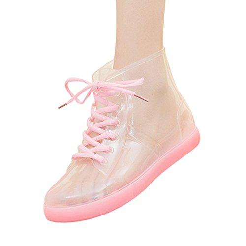 Xinwcang Coloreado de Pink Shorty Botas Casual Agua de Impermeable de Boot de Tie Mujeres Zapatos Lluvia Antideslizante raxrfqvwI8