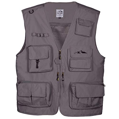 Fly Fishing Photography Climbing Vest with 16 Pockets made with Lightweight Mesh Fabric for Travel, Sports, Hiking, Bird Watching, River Guide Adventures, Safaris and Hunting. (Gray, Medium)