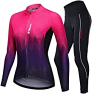 Women's Breathable Long Sleeve Gel Padded Bicycle Cycling Suit Mesh Cloting Pants Set UV Protec