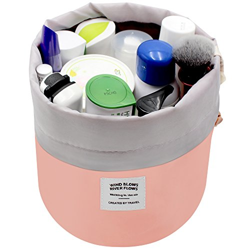 Cosmetic Bags Travel Barrel Cases Kit Organizer Storage Carry Case Toiletry cosmetic bag,Women Girls Travel Cosmetic Bags Makeup Pouch Make up Bag With Extra Small Pouch+Clear PVC Brush Bag (Pink)