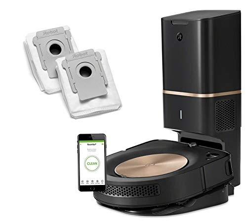 iRobot Roomba s9+ Robotic Vacuum Bundle with Automatic Dirt Disposal- Alexa Connected, Home Mapping, Great for Pet Hair (+2 AllergenLock Dirt Disposal Bags)