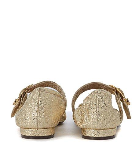 Lautre Heeft Gekozen Voor Goud Gelamineerde Lederen Platte Schoenen Goud