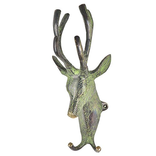 Brass Deer Head with Two Hooks and Green Patina Wall Hook/Hanger/Holder-2 Piece(BTH-208) ()
