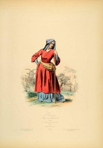 1870 Engraving French Shepherdess Costume Dress France - Original Copper Engraving (Shepherdess Costume)