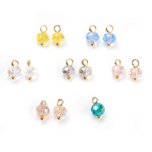 FidgetKute 500 Random Electropalte Glass Bead Mini Charms Faceted Rondelle Gold Tone 9.5mm