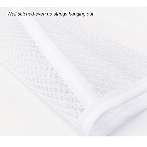 Hisight 2 Pack Quick Dry Hanging Mesh Bath Shower Organizer Shower Curtain with 6 Mesh Pockets and 4 Rings Hang on Rod Liner Hook Bathroom Save Space Bag Shampoo Conditioner Soap Storage (white) by Hisight (Image #5)