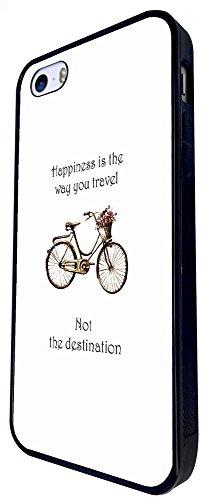 641 - Vintage Bicycle Happiness Is The Way You Travel Design iphone SE - 2016 Coque Fashion Trend Case Coque Protection Cover plastique et métal - Noir