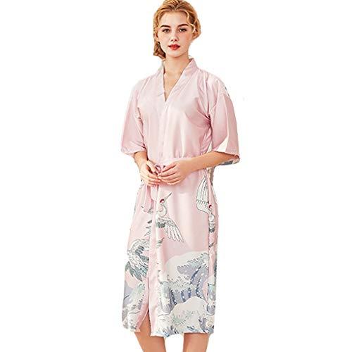 Women Sexy Long Silk Kimono Bathrobe Stain Lace Lingerie Belt Bath Robe Nightwear by Quelife Pink