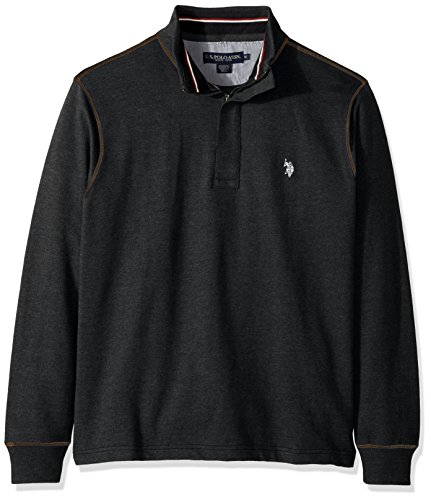 1/4 Zip Pullover Sweater (U.S. Polo Assn. Men's Long Sleeve French Terry 1/4 Zip Pullover, 8629-Black Heather, L)