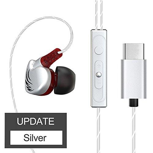 FANBIYA Type c Headphone with Mic Sport Ear Hook Super Bass Music Earphone Handsfree Headset for Leeco Le Max/2/Pro/3/S3 Earbuds (silver)