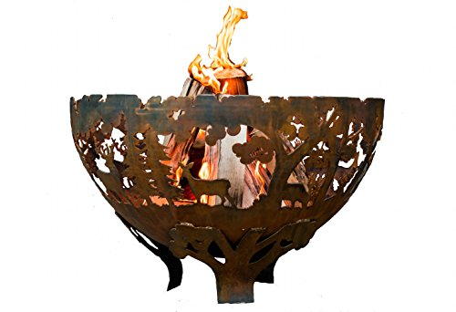 Esschert Design FF1021 Laser Cut Wildlife Fire Pit Bowl, Extra Large - Extra large Firepit that has been laser cut from 3mm thick Steel Blowing leaf sculpted design Durable and sturdy platform - patio, fire-pits-outdoor-fireplaces, outdoor-decor - 41Knl7OyRjL -