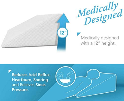 Bed Wedge Pillow 1.5 Inch Memory Foam Top, Cushy Form (25 x 24 x 12 Inches) Best for Sleeping, Reading, Rest or Elevation - Breathable and Washable Cover (12 Inch Wedge, White)