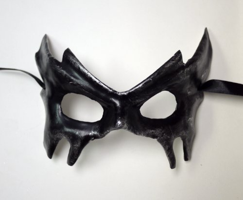 Black Dark Halloween Costume Eye Mask with Silver Accents