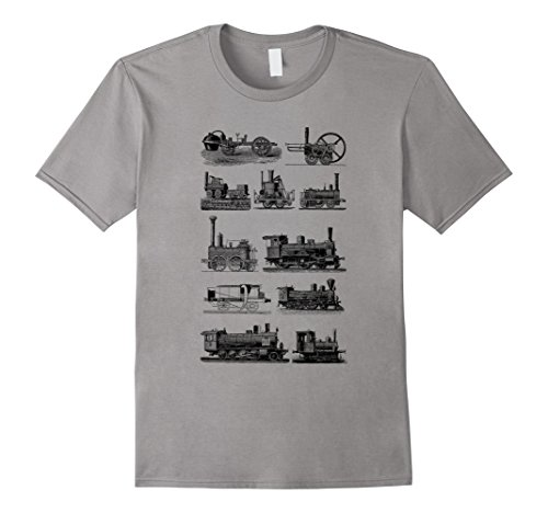 Mens Steam Engine Train T-Shirt. Steam Train Locomotive Tee 2XL (Train Apparel)