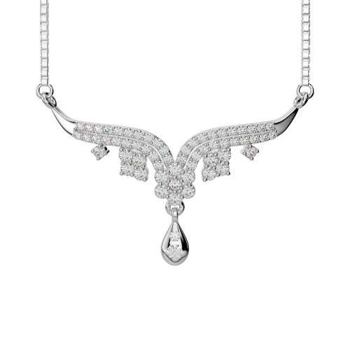 Or blanc/or jaune/Platine Diamant Collier avec chaîne agms-1001-vsgh