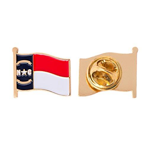 North Carolina NC State Flag Lapel Pin Enamel Made of Metal Souvenir Hat Men Women Patriotic North Carolinian (Waving Flag Lapel ()