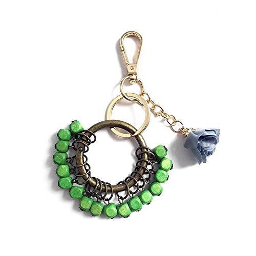 AMBER DAVIDSON Retro Couple Acacia Bean Keychain Red Bean Love Key Ring Jewelry Female Bag Pendant Men Car Key Chain,Green