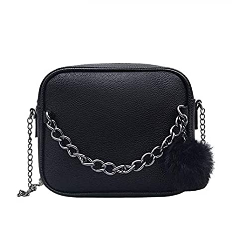Amazon.com : LFNYZX Women Messenger Bag Chains PU Leather ...