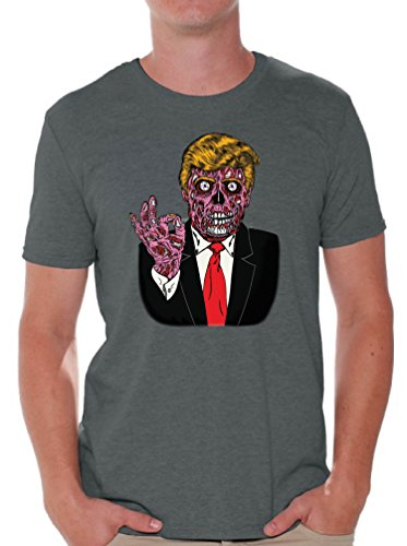 Awkward Styles Men's Zombie Trump T shirts Tops Trump Halloween Costume Trumpkin Charcoal L