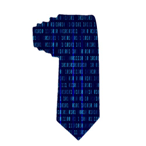 SARA NELL Men's Classic Woven Business Tie Silk Necktie Programmer Technology Binary Code Digital Neck Ties