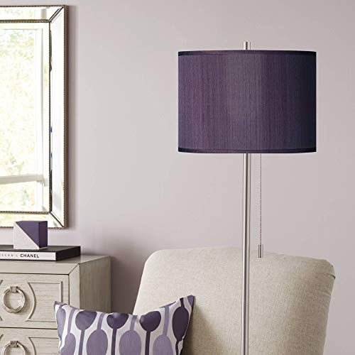 Modern Floor Lamp Brushed Nickel Hand Assembled Eggplant Faux Silk Drum Shade for Living Room Reading Bedroom - Possini Euro ()