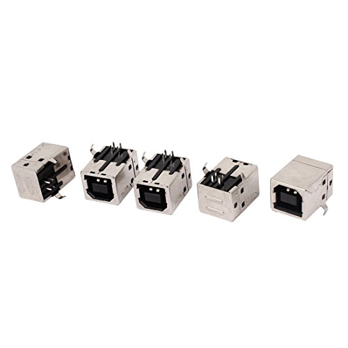 Uxcell a15031900ux0241 USB-B Type 90 Degree Right Angle PCB Socket Female Connector (Pack of 5)