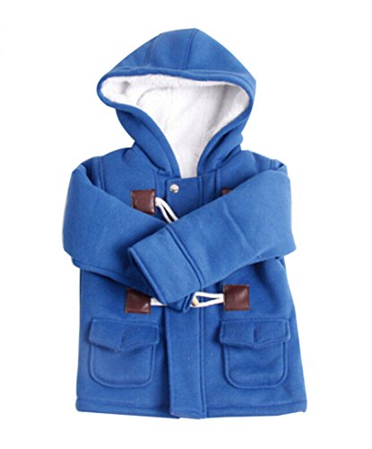 s Little Boys Cotton Blend Fleece Hooded Duffle Coat Toggle Coat (Blue, Height 47.24