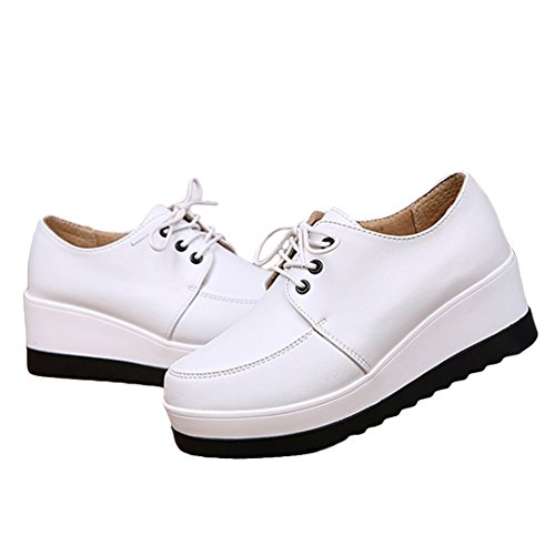 iFang - Zapatos de cordones para mujer negro negro blanco