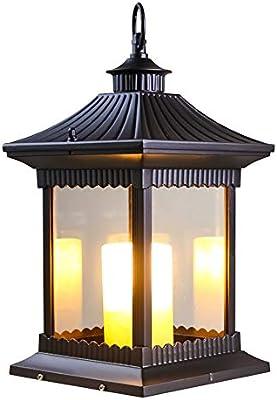 FAC-DOOR Lámpara de Columna de Vela al Aire Libre Chino Lámpara de jardín Lámpara de jardín Lámpara de jardín Lámpara de jardín Lámpara de pie Lámpara de pie E14 (Tamaño : S):