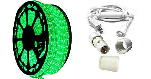 AQL Dimmable Green LED Rope Light Standard Kit, 120 Volts, Full 360 Degrees LED 513PRO Diode, 150ft/Roll, Commercial Grade Indoor/Outdoor Rope Light, IP65 Waterproof ()
