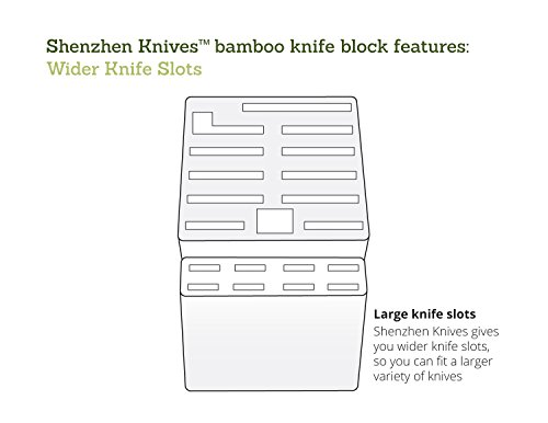 20 Slot Bamboo Universal Knife Block Without Knives. Knife Storage Organizer and Holder by Shenzhen Knives. by Shenzhen Knives (Image #3)