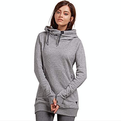Volcom Women's Tower Pullover Heather Fleece Hooded Baselayer Sweatshirt, Grey, Extra Large ()