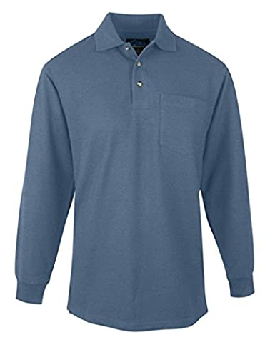 Spartan Long Sleeve Golf Shirt, Slate, 3XL