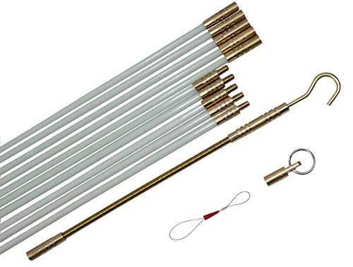 StartFine Fiberglass Fish Tape Cable Rods Fish stick Wire Running Fish Tape Kit Connectable Cable Puller Pull Push Electrical Wire Rods with Hook and Eye Wire Noodler14ft