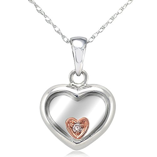Amazon floating heart pendant 18k two tone gold with small floating heart pendant 18k two tone gold with small diamond accent aloadofball Gallery