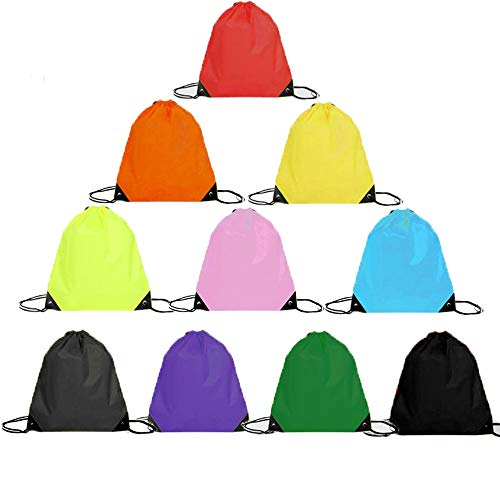 - ZOCONE Drawstring Bags 10 PCS Colorful Drawstring Sports Backpack Bag Waterproof Nylon Polyester Bundle Pocket Suitable for Fitness Sports Travel Sport Gym Sack Cinch Bags