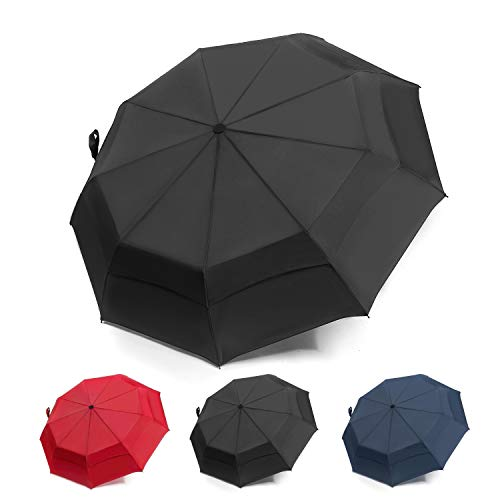 UENHOQ Compact Travel Umbrella Windproof Double Canopy Vented - Auto Open Close Portable Lightweight Folding Umbrella Double -