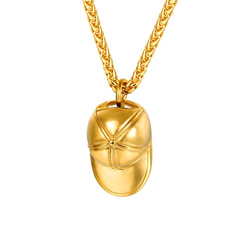 Gold Plated Baseball (Men Street Hip-hop Style Jewelry Gold Plated 18K Baseball Cap Hat Pendant Necklace)