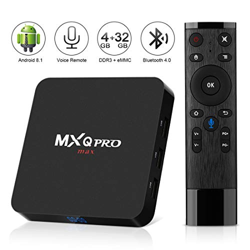 Android 8.1 TV Box ,2018 Newest Leelbox MXQ PRO max 4GB RAM 32GB ROM Quad-Core Cortex-A53 RK3328 64 Bits Built-in WiFi Bluetooth 4.0 Support 4K 3D Ultra HD HDMI H.265 with 2.4G Voice Remote