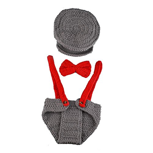 ZhiDa Newborn Baby Boy Costume Handmade Crochet Knitted Clothes Photo Photography Prop Cap Beanie with Suspenders Bowtie Diaper (Sexy Costumes For Boys)